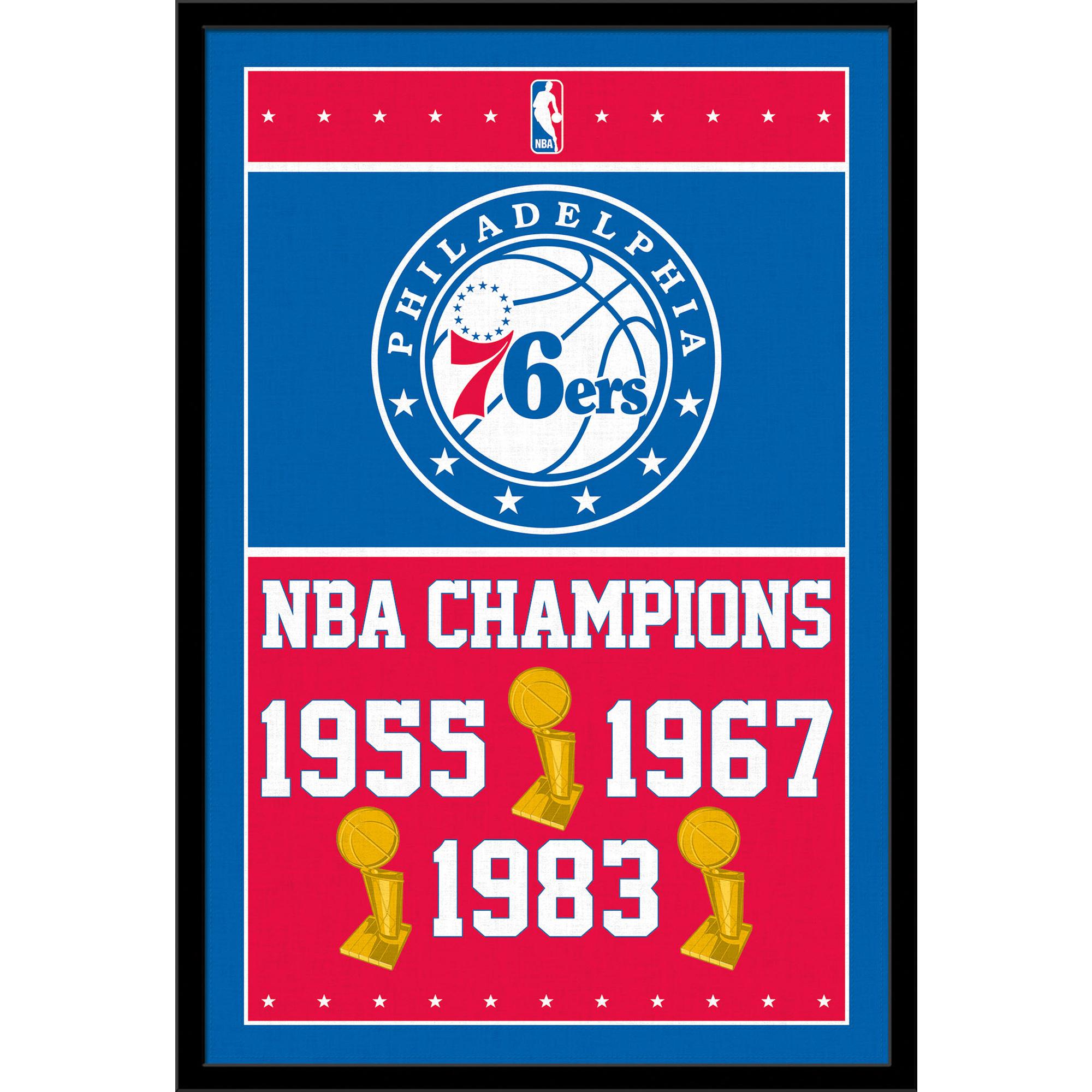 Philadelphia 76ers NBA Finals Champions 24.25'' x 35.75'' Framed Poster - No Size