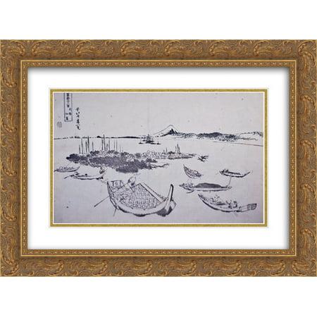 Katsushika Hokusai 2x Matted 24x20 Gold Ornate Framed Art Print