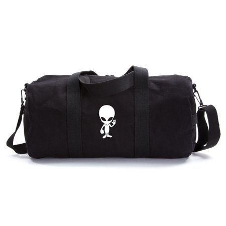Alien Cartoon Army Sport Heavyweight Canvas Duffel