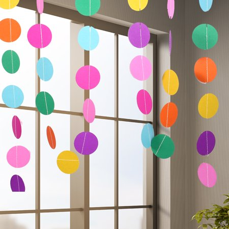 WALFRONT 4M Colorful Round Hanging Paper Circle Garland String Chain Home Wedding Party Decoration New ,Paper Garland, Round Hanging Paper Garland - image 4 of 5