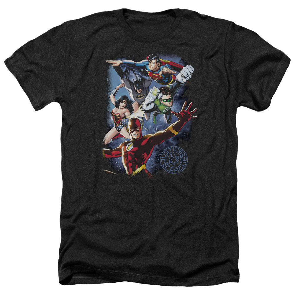 Jla Galactic Attack Color Mens Heather Shirt