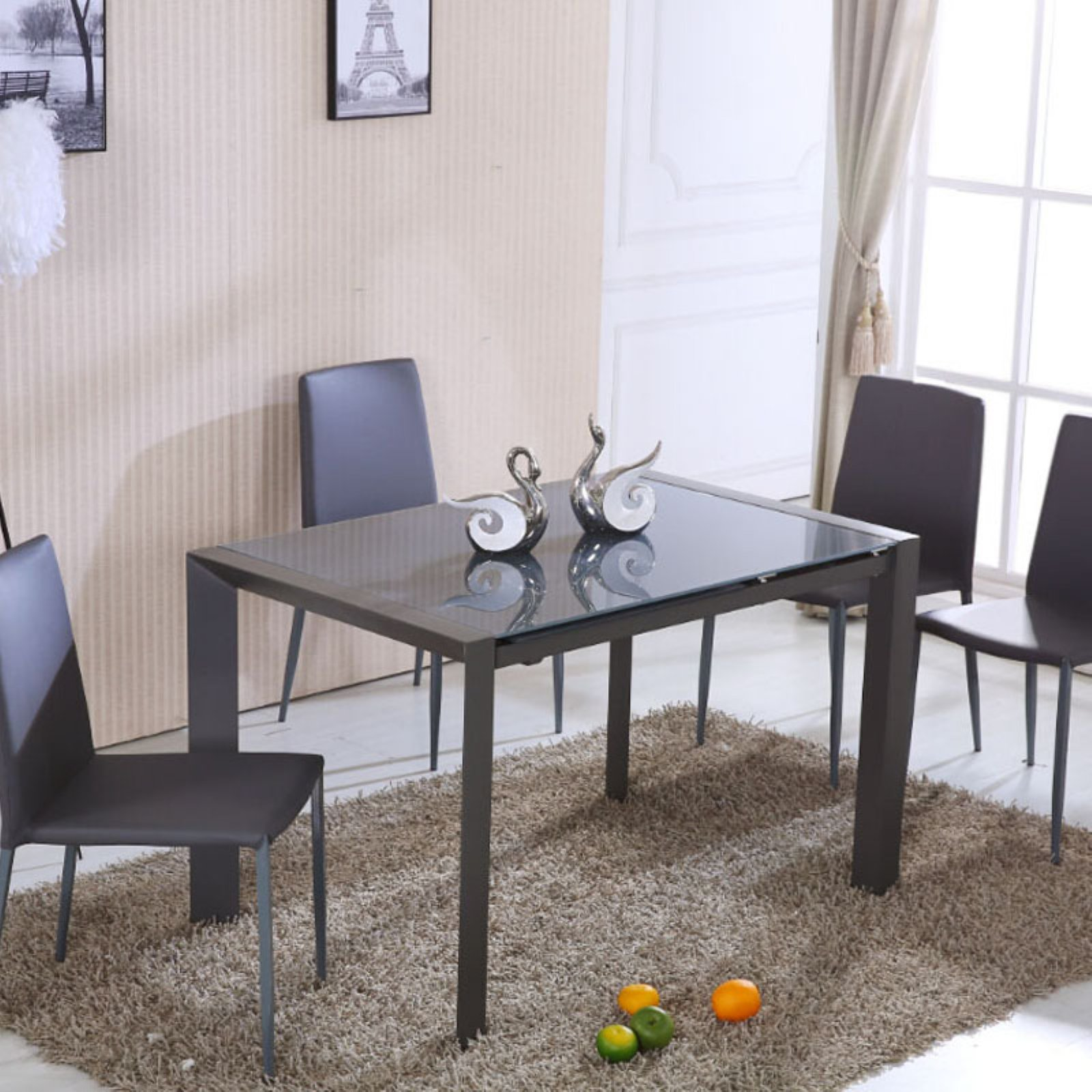 Diamond Sofa Carbon Glass Top Extension Dining Table with Metal Frame