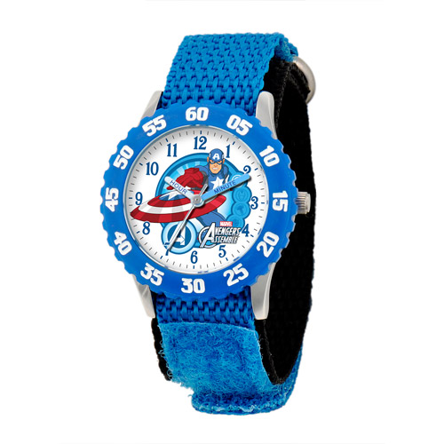 Marvel Captain America Boys' Stainless Steel Time Teacher Blue Bezel Watch, Blue Nylon Strap