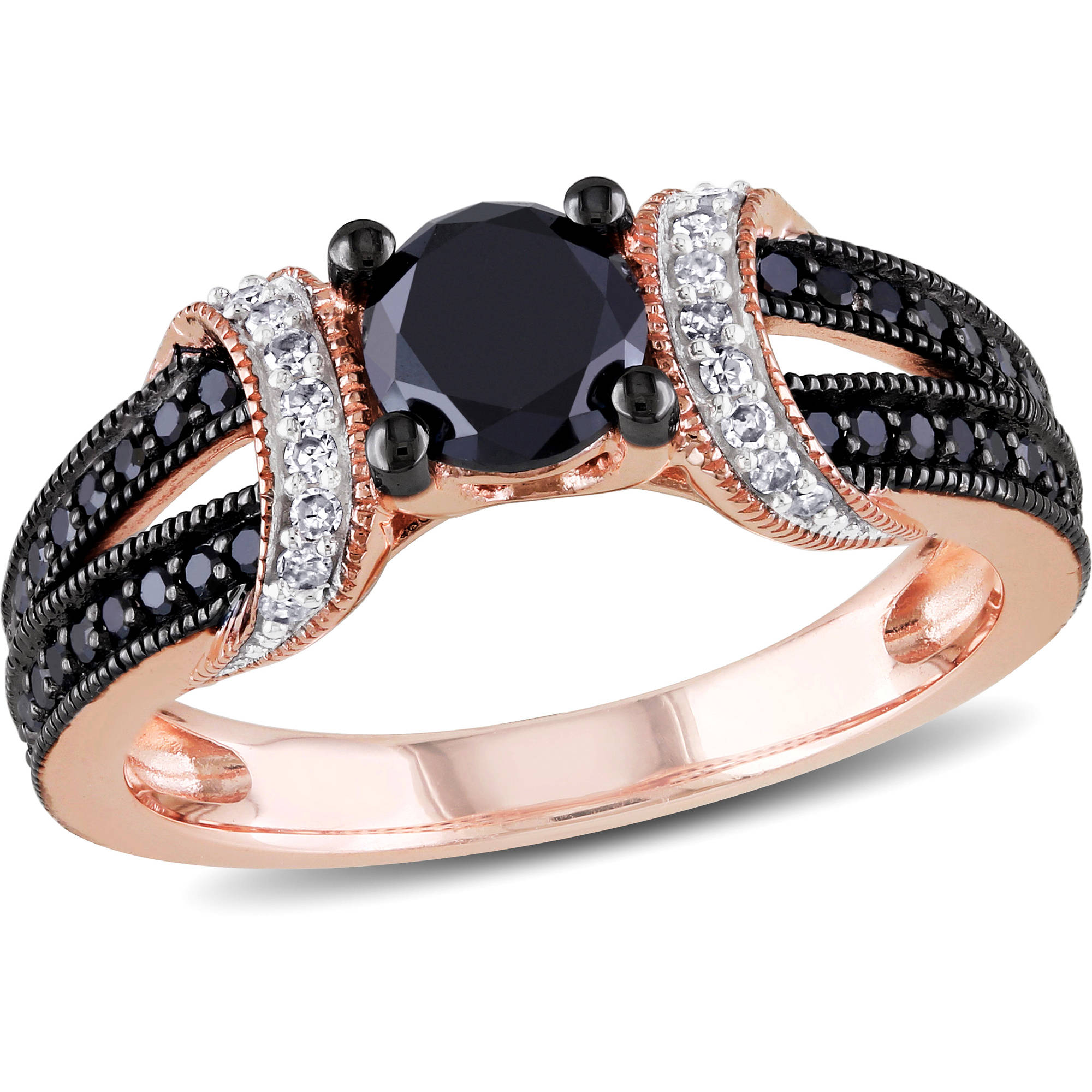 1 Carat Black and White Diamond 10kt Pink Gold Loop Style Engagement Ring