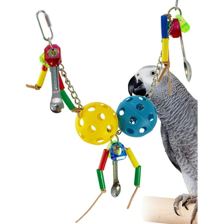 Red Cockatoo - Bonka Bird Toys 1708 Chain Spoon parrot bird toys toys cage african grey cockatoo macaw