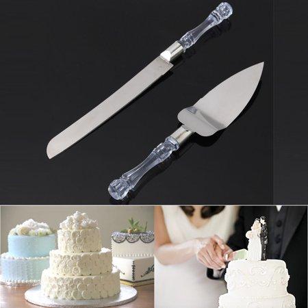2PCS Stainless Steel Crystal Handle Cake Shovel kit Cake & knife Server Server For Wedding Party - Cake Cutting Knife