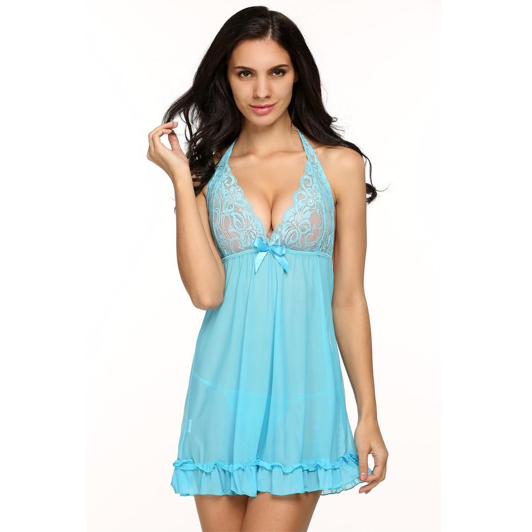 Gift for Valentine's Day ! Women Lingerie Babydoll Dress Lace Mesh Sleepwear Halter Mini Night Gown G-String PESTE
