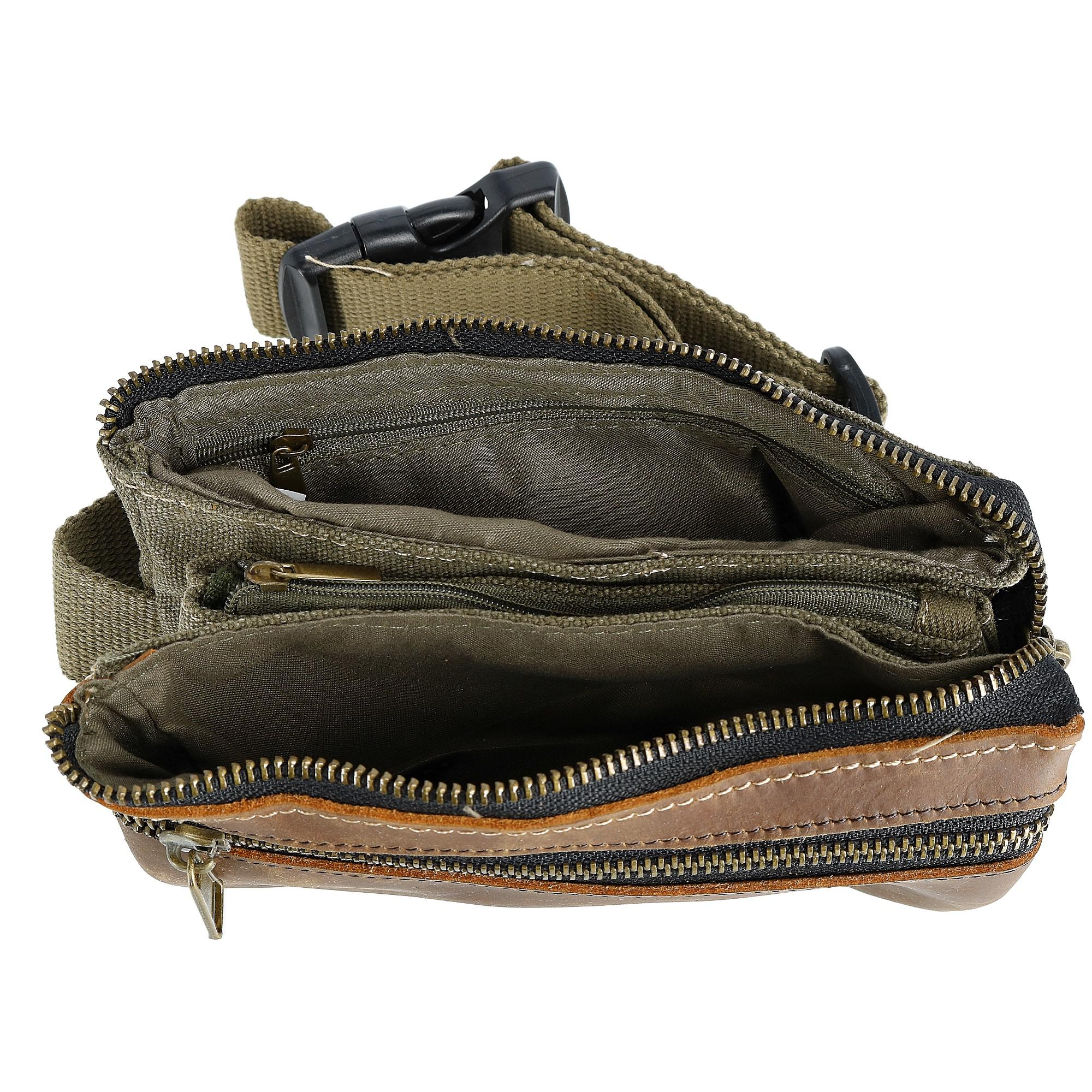 CTM Canvas and Leather Multi Pocket Waist Pack - image 2 of 3