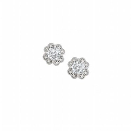 Fine Jewelry Vault UBNER40932AGCZ 1 CT Floral Design CZ Silver Earrings, 2 Stones