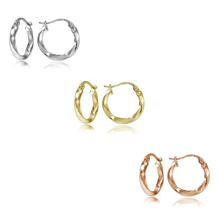 Sterling Silver Tri Color 2x15mm Twist Polished Hoop Earrings Set of 3 ()
