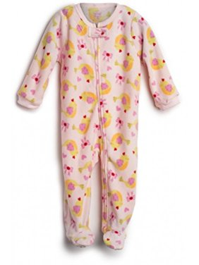 Elowel Baby Girls Footed Birds Pajama Sleeper Fleece 12-18 Months