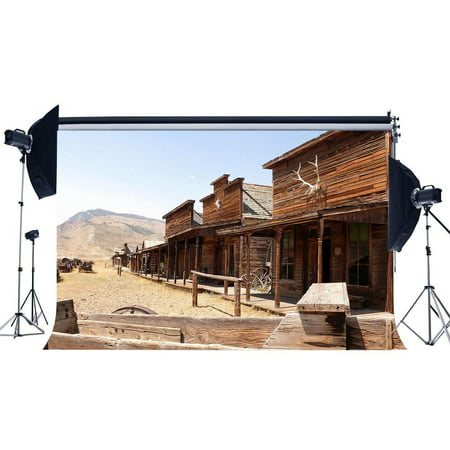 ABPHOTO Polyester 7x5ft Western Wood Saloon Backdrop Old Barn Backdrops West Cowboy Vintage Wheel Turkey Farm Rustic Farmland Photography Background for Kentucky Derby Party Photo Studio Props - Kentucky Derby Photo Backdrop