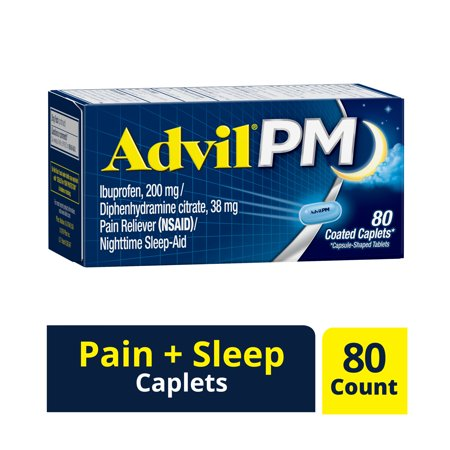 Advil PM (80 Count) Pain Reliever / Nighttime Sleep Aid Caplet, 200mg Ibuprofen, 38mg