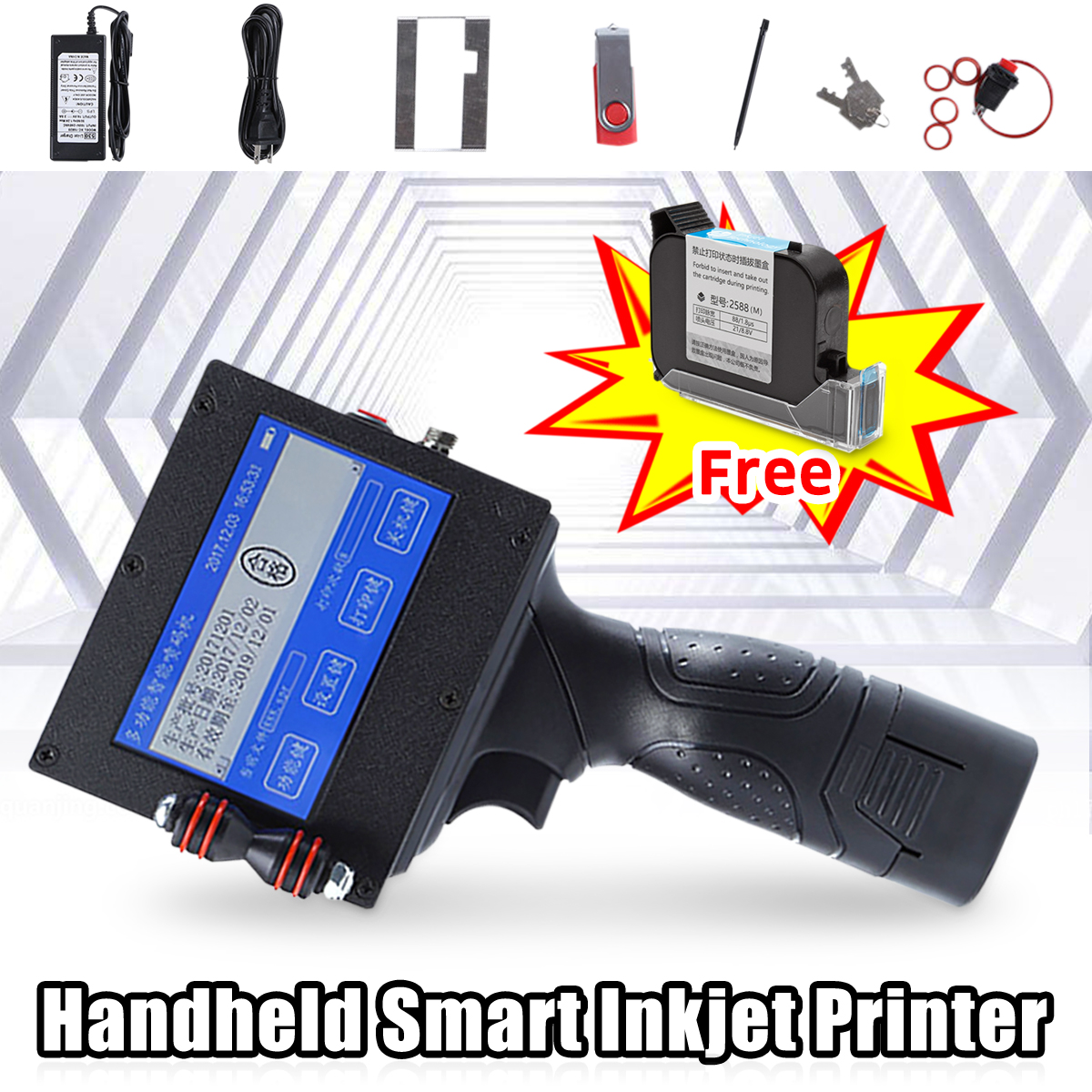 600PI LED Touch Handheld Inkjet Printer Smart Date QR Coder Ink Coding Machine