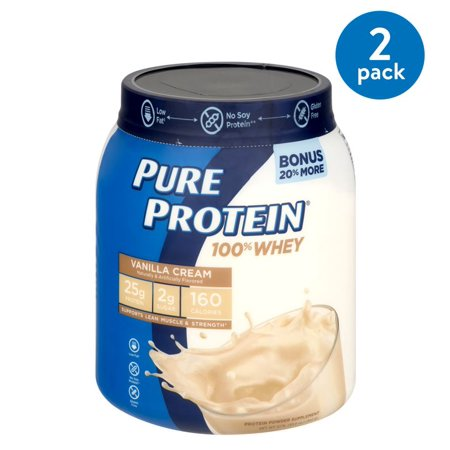(2 Pack) Pure Protein 100% Whey Protein Powder, Vanilla Cream, 25g Protein, 1.75