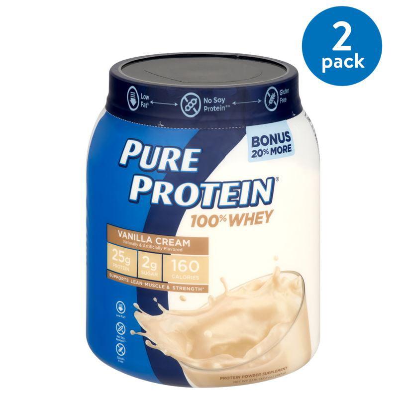 (2 Pack) Pure Protein 100% Whey Protein Powder, Vanilla Cream, 25g Protein, 1.75 Lb