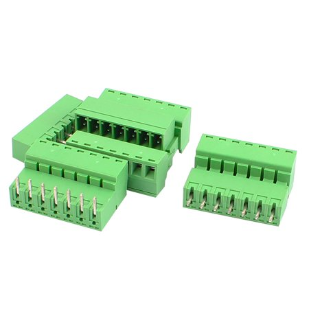 4 Pairs 3 81mm Pitch 7 Pin Male to Female PCB Pluggable Terminal Block  Connector