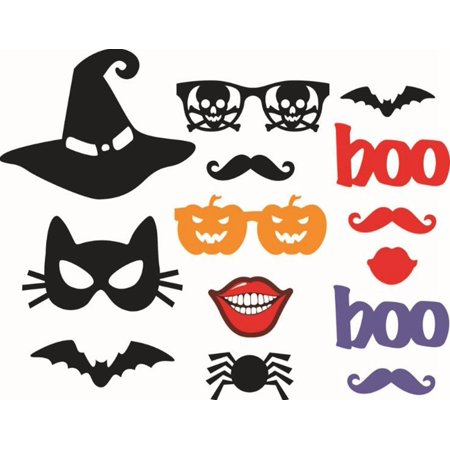 14-Piece Photo Booth Props Party Favor for Hallowmas Party with Hat Mustache Bat - Mustache Booth