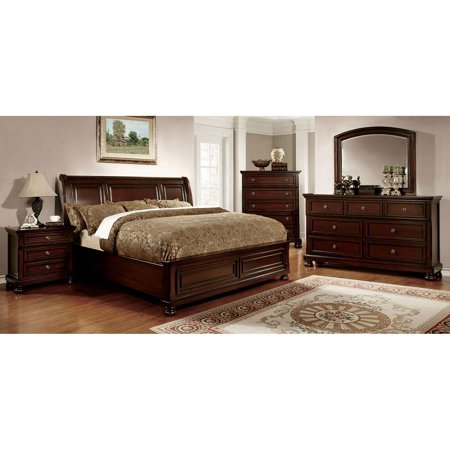 Transitional Wood King Panel bed in Brown Northville by Furniture of America ()