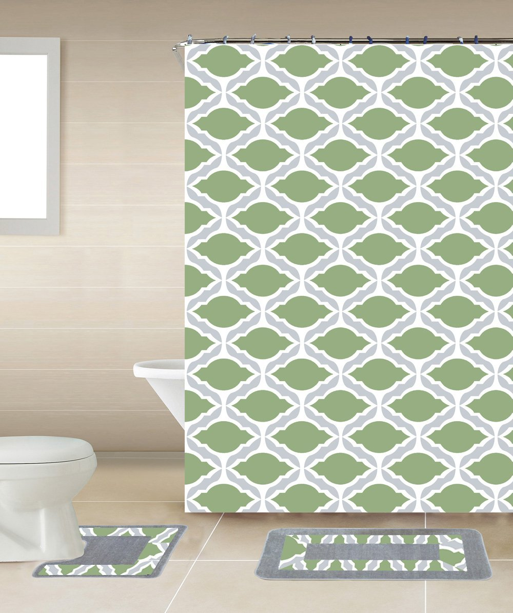 15pc Sage Thea Bathroom Set Printed Banded Rubber Backing
