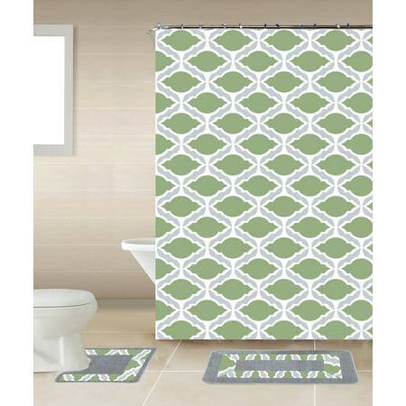 Thea Sage Green & Gray Chain 15-Piece Bathroom Accessory Set: 2 Bath Mats, Shower Curtain & 12 Fabric Covered