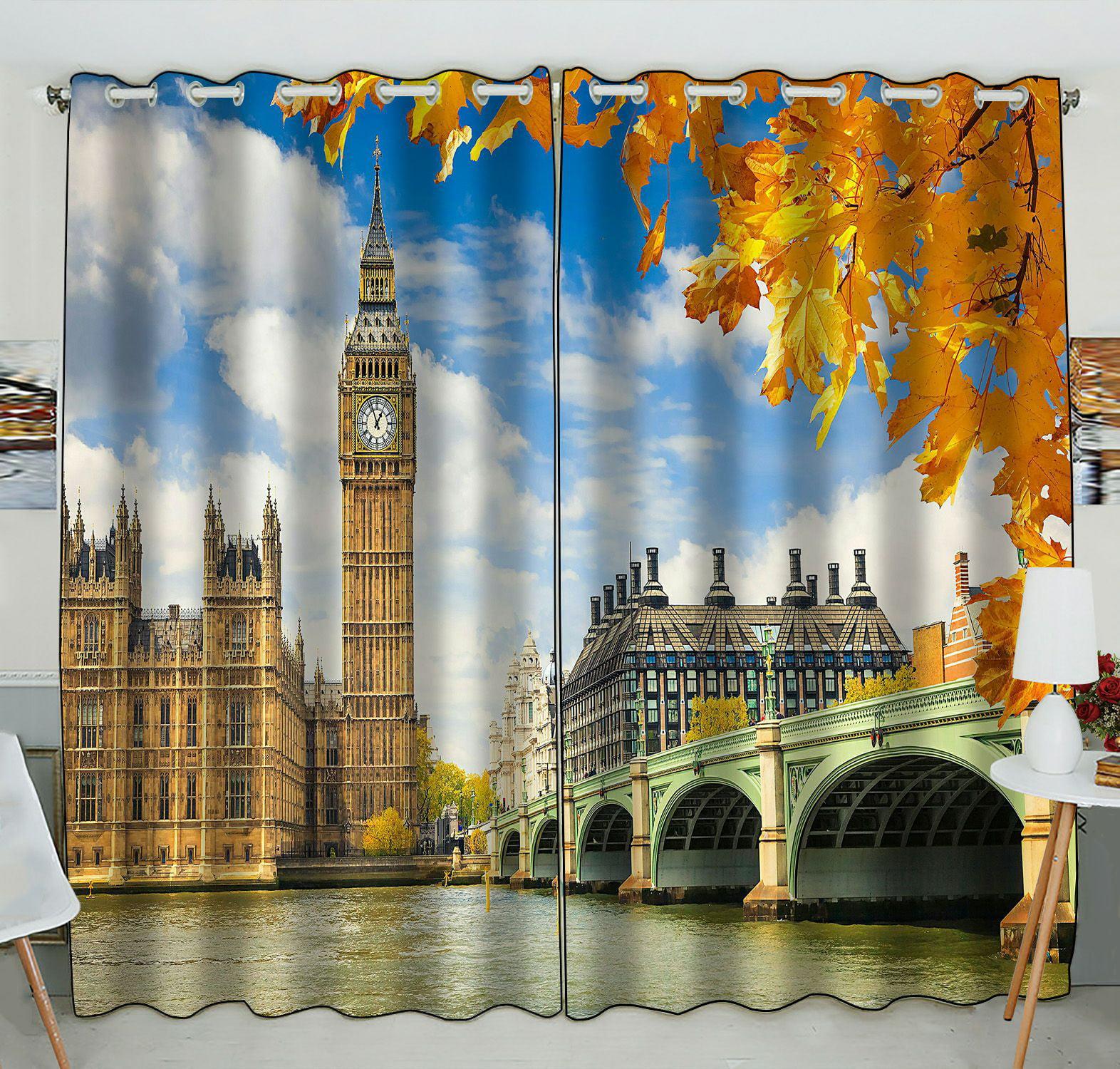 Abphqto Big Ben With Autumn Leaves London Window Curtain Kitchen Curtain Window Drapes Panel 52x84 Inch Two Piece Walmart Com Walmart Com