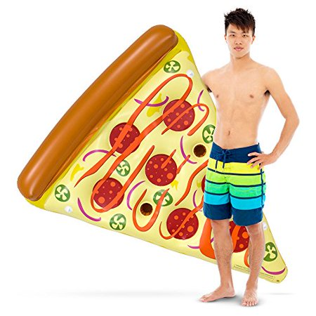 Food Pool Floats (Sol Coastal 6-foot Spicy Pizza Slice Swimming Pool Float, Inflatable Food Water Toy)