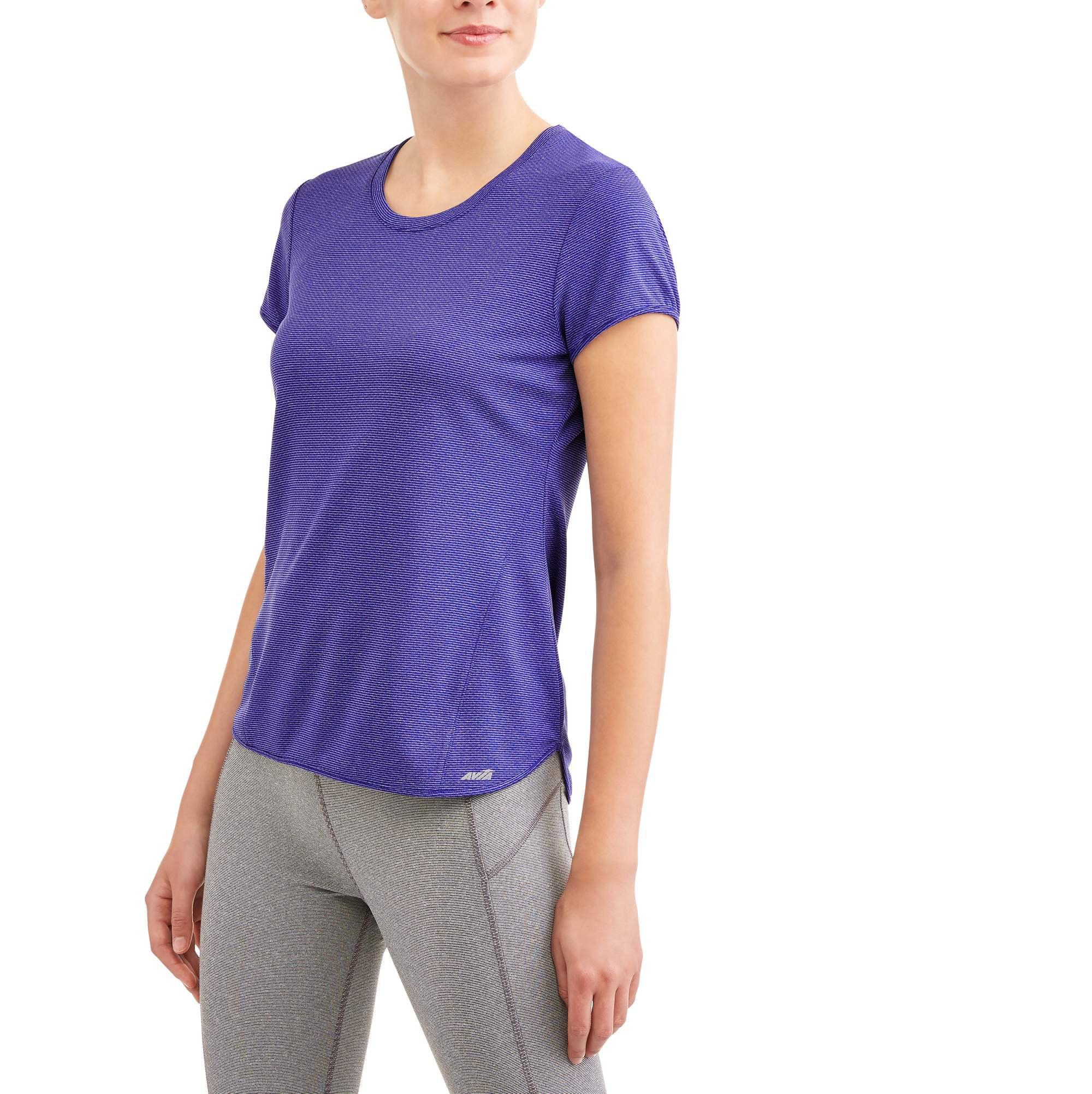 Avia Women's Active Short Sleeve Textured Performance T - Shirt With Moisture Wicking