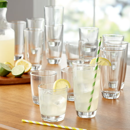 Mainstays 16-Piece Drinkware Glass Set - Lenon Glasses