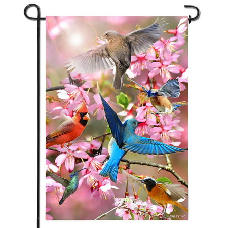 ANLEY [Double Sided] Premium Spring Garden Decorative Flag, Flower and Bird Welcome Garden Flags - Weather Resistant & Double Stitched - 18 x 12.5 Inch