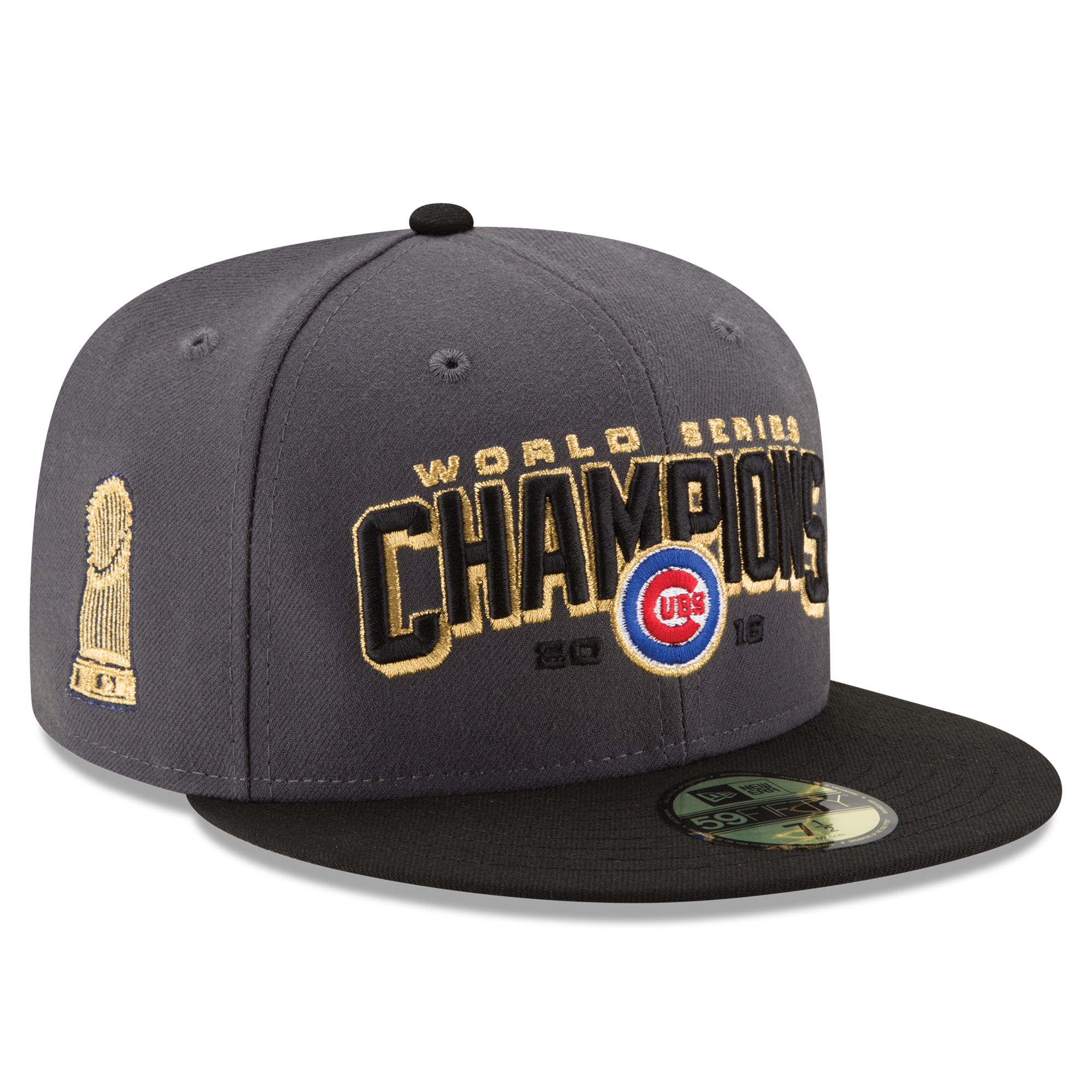 Men's New Era Gray/Black Chicago Cubs 2016 World Series Champions Two-Tone 59FIFTY Fitted Hat