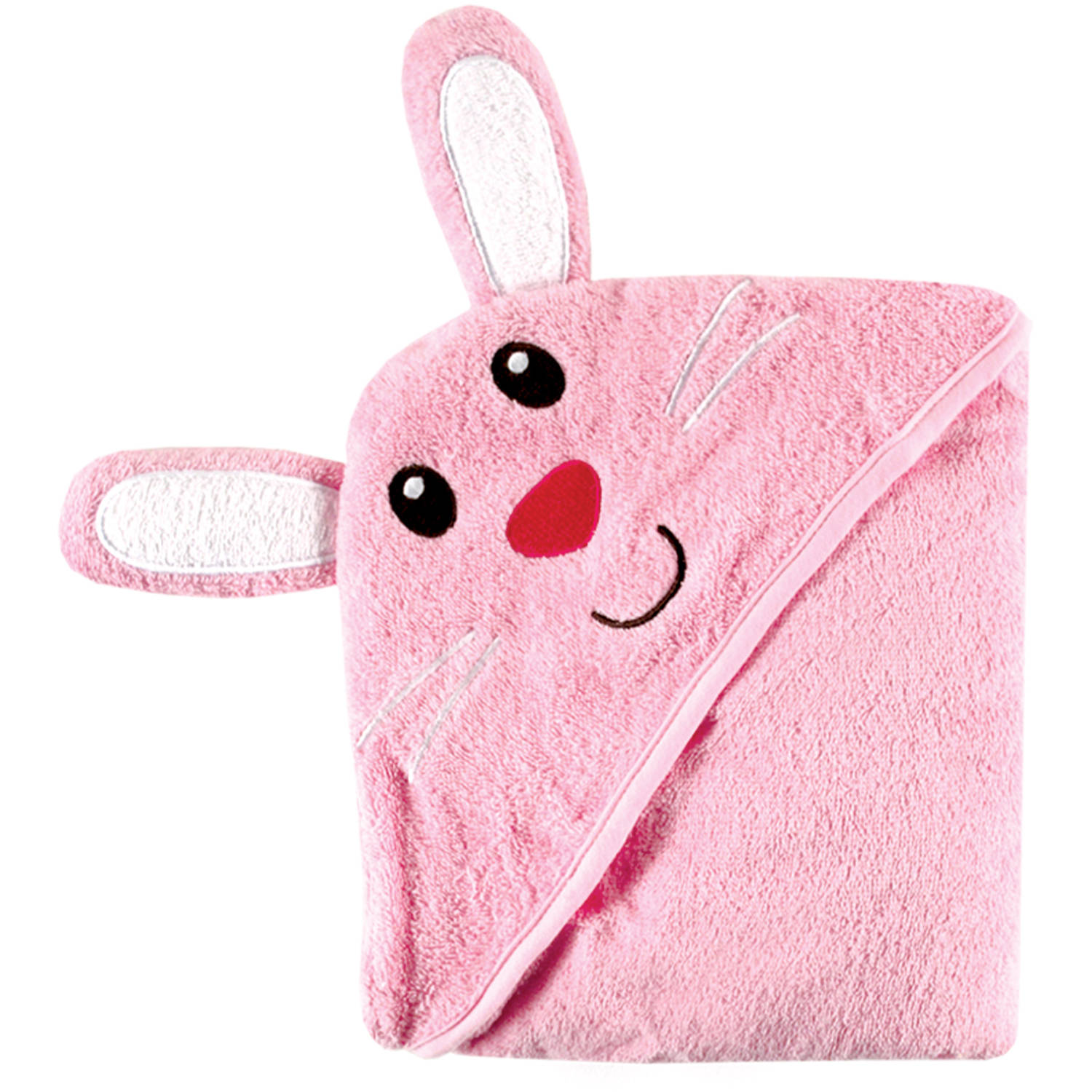 Luvable Friends Newborn Baby 100% Cotton Terry Hooded Towel with Embroidery, Choose Your Animal