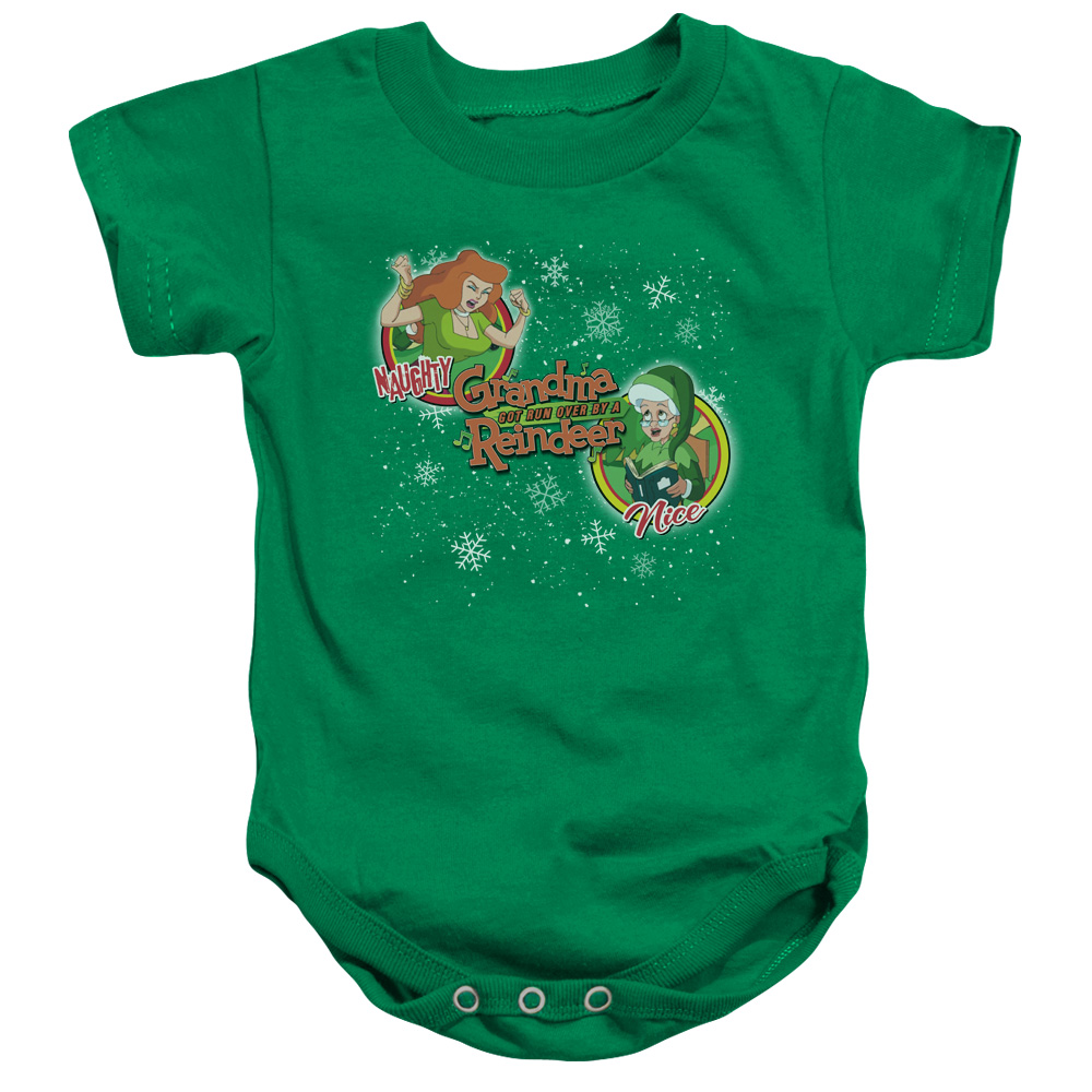 Grandma Got Run Over By A Reindeer Naughty Or Nice Unisex Baby Snapsuit