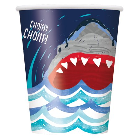 - Shark Party Paper Cups, 9 oz, 8ct