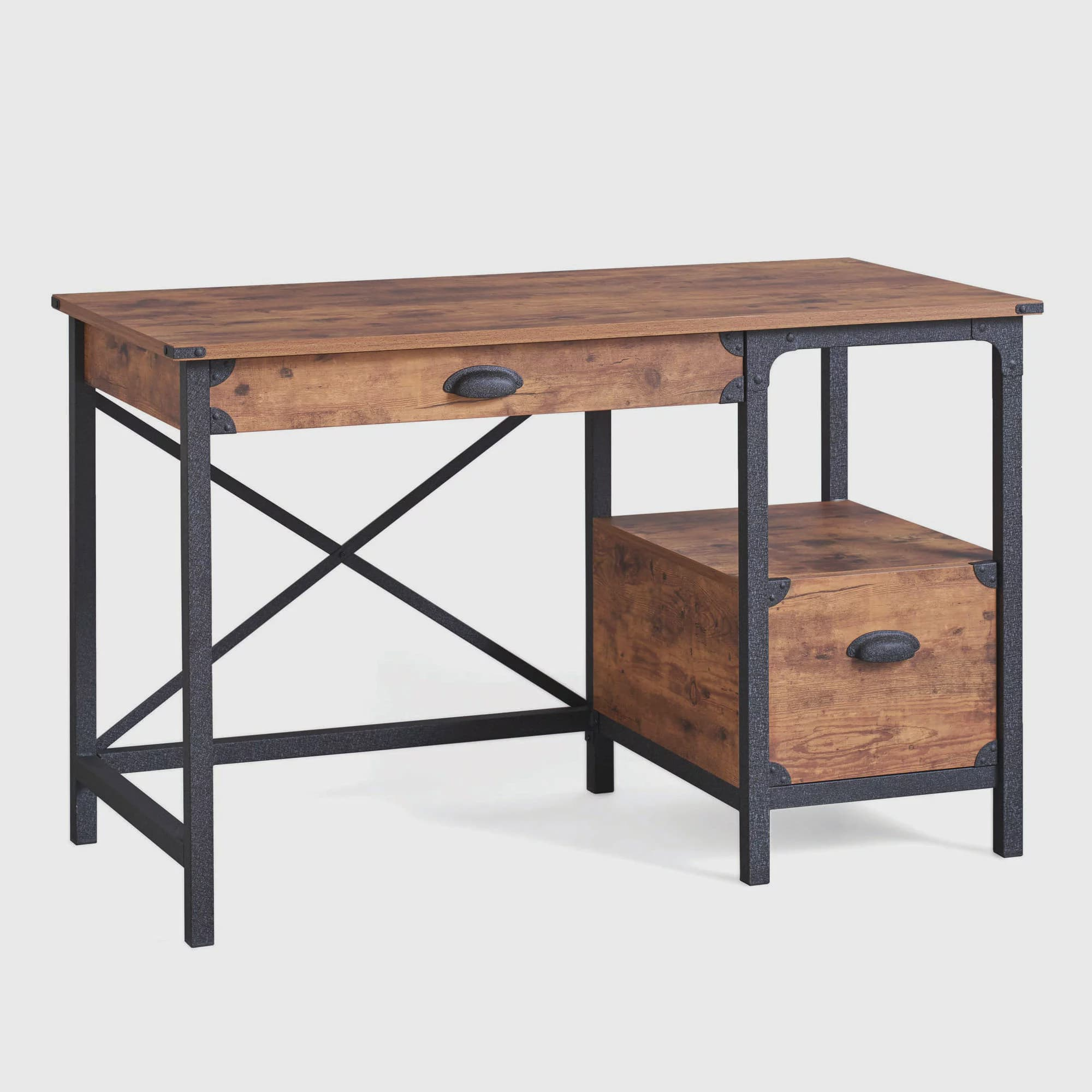 Better Homes Gardens Rustic Country Desk Weathered Pine Finish Com