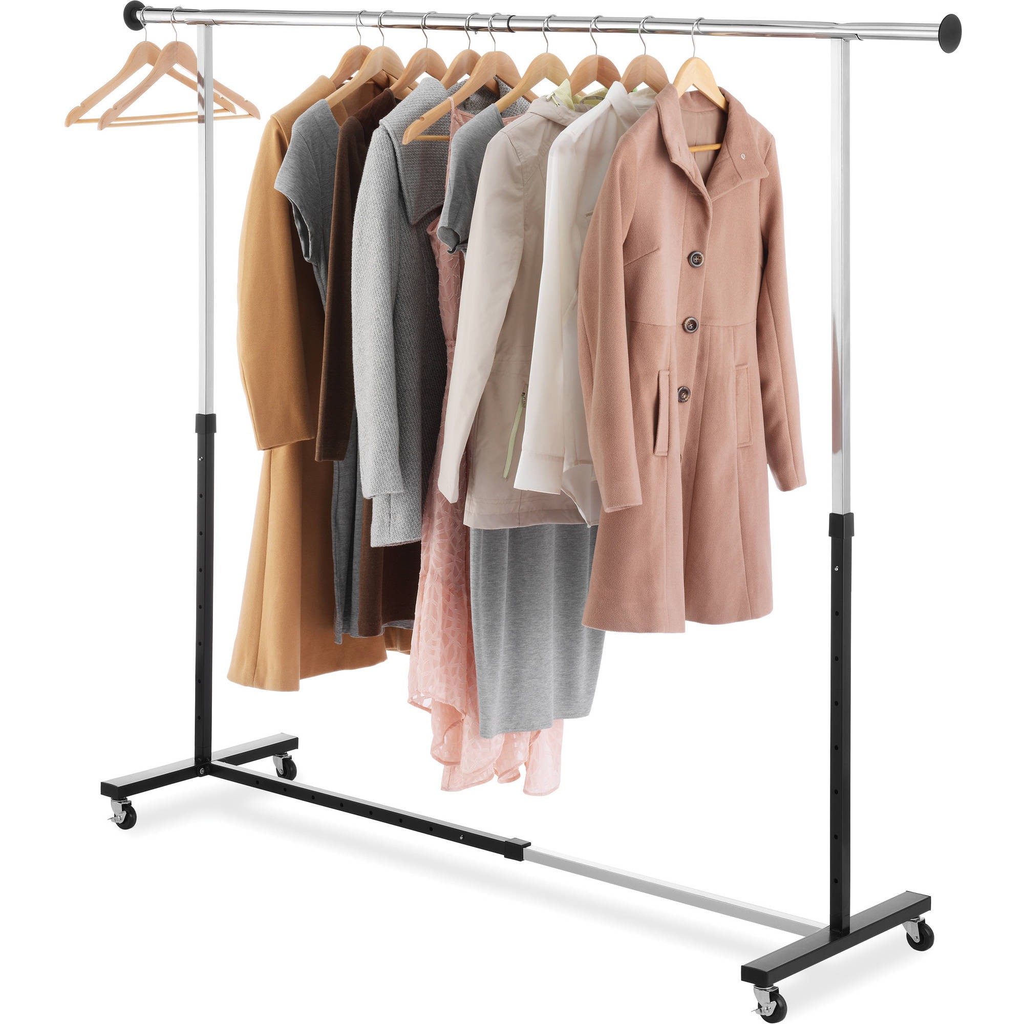 Whitmor Adjustable Garment Rack, Black and Chrome