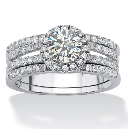 - 1.75 TCW Round Cubic Zirconia Halo Bridal Set in Platinum over Sterling Silver