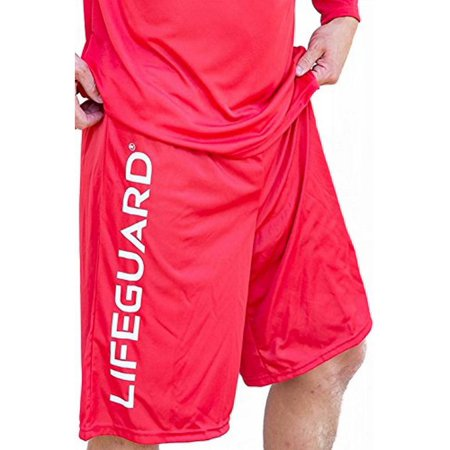 LIFEGUARD Officially Licensed Men's Active Shorts Exercise Outdoor (Medium, Red)
