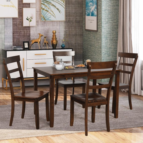 enyopro 5 Piece Dining Table Set, Square Kitchen Table with 4 Chairs, Compact Dining Room Set, Wood Home Kitchen Table and Chairs for 4 Person, Ideal for Dining Room Apartment Small Space, B1309