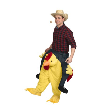 Piggyback Carry Me Ride On A Chicken Farm Animal Adult Rooster Costume Riding (Piggyback Illusion Costume)