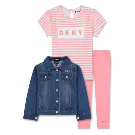 DKNY Toddler Girl Denim Jean Jacket, T-shirt & Leggings, 3pc Outfit Set