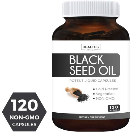 Healths Harmony Black Seed Oil 120 Softgel Capsules (NON-GMO & Vegetarian) Supplement Made from Cold Pressed Nigella Sativa Pure Black Cumin Seed Oil - 500mg (Hemp Seed Oil Capsules)