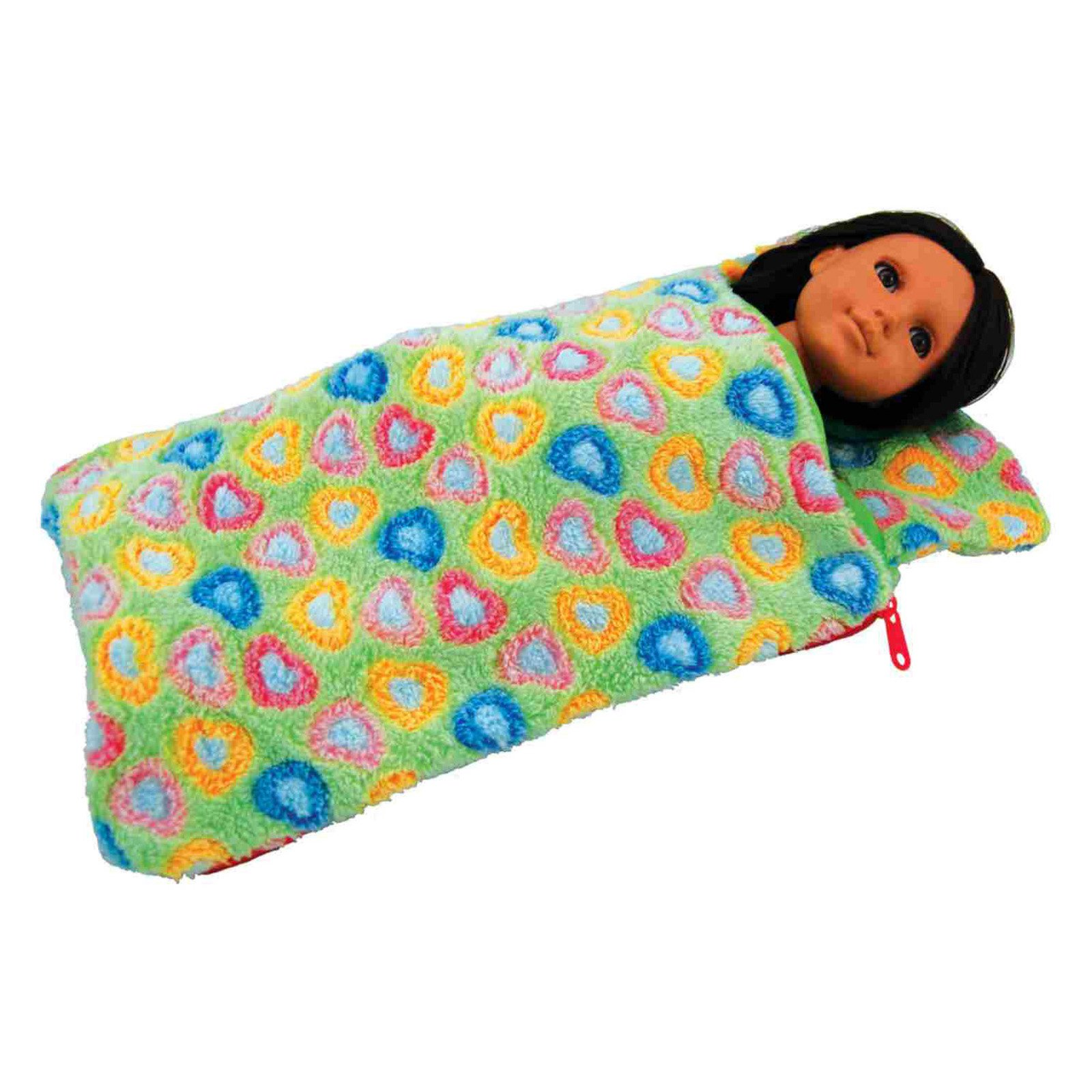 18 Inch Doll Bedding Accessory, Green Super Soft Sleepover Party Sleeping Bag