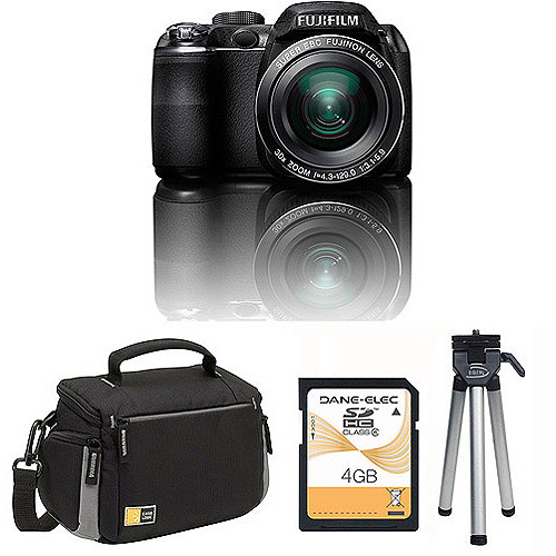 fuji s4000 black 14mp digital camera bundle w/ 30x optical