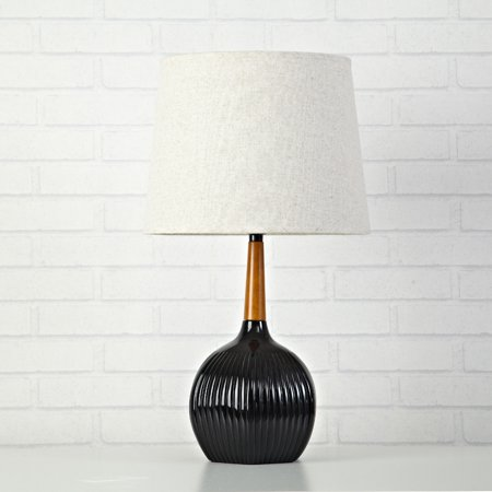 Urban Shop Ribbed Table Lamp With Wooden Accent- 20.5