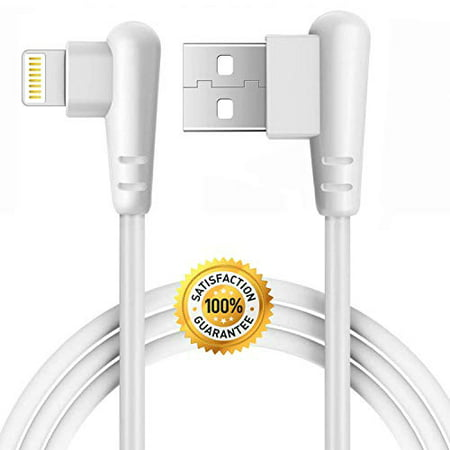 Right Angle Charger 10FT Cord 90 Degree Fast Data Cable Compatible for iPhone X Case/8/8 Plus/7/7 Plus/6/6s Plus,iPad Mini Case (White) 3M, 1-Pack