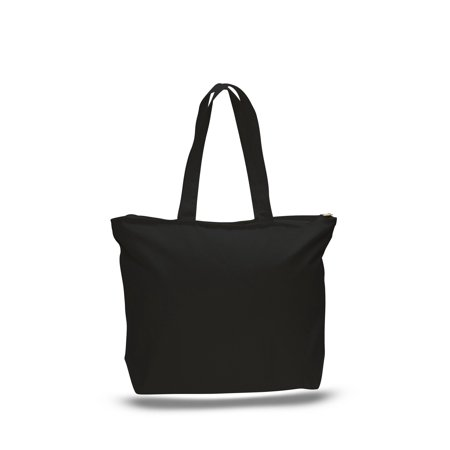 9aaf344ec BagzDepot - Strong Canvas Tote Bag with Zipper Pocket and Long ...