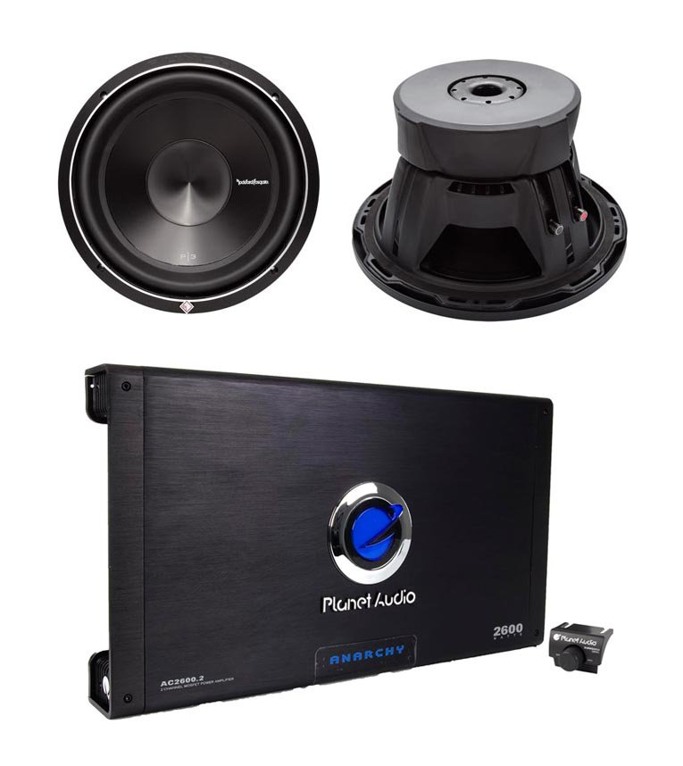"2) Rockford Fosgate P3D2-10 10"" 1000W 2-Ohm Car Subwoofers Subs + 2600W 2-Ch Amp"