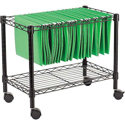 "Alera Single-Tier Rolling File Cart, 24""W x 14""D x 21""H, Black"