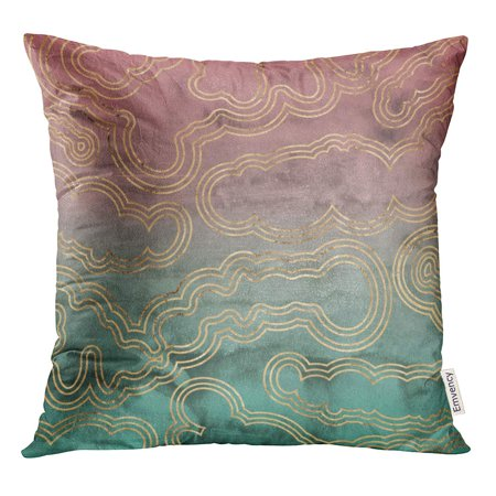 STOAG Sliced Marble Rose Gold Overlaid on Pink and Green Throw Pillowcase Cushion Case Cover 16x16 inch ()